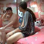 【ラブホテル盗撮動画】例のキティーちゃんルームでセックスするぽっちゃりカップル