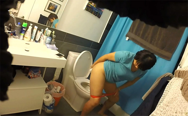 【家庭内トイレ盗撮動画】ウンコしながらスマホをいじるおばちゃん