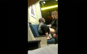 【街中盗撮動画】電車内でセックスしてるカップルと、路上でシコるホームレス