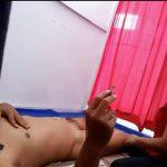 【マッサージ店盗撮動画】タバコ吸いながら全裸でマッサージを受ける態度の悪い男性客