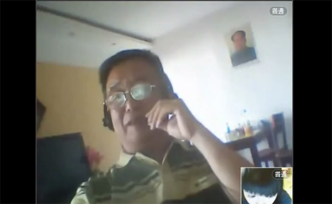 【Webcam流出動画】中国人のおっさんが恐らくはエロチャット相手に自慰行為を見せ付ける様子