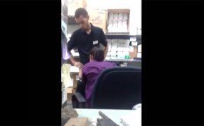 【カップル盗撮動画】仕事中バックヤードで同僚にフェラチオして貰う店員