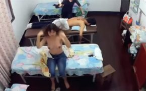 【マッサージ店盗撮動画】カップルでカッピング(吸い玉)治療を受けに来たカップルが監視カメラで裸体を撮られてしまう