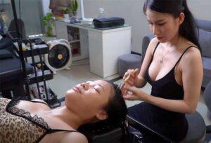 【マッサージ動画】巨乳でキツめな顔立ちの美人セラピストによるフェイシャルマッサージ