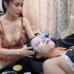 【ベトナム床屋マッサージ動画】ノーブラ女性がノーブラ女性に洗髪&マッサージ施術