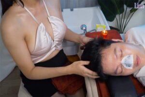 【フェイスマッサージ動画】ノーブラおっぱいお姉さんによる鼻パックと頭のツボ押し